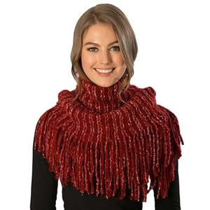 Tierstars Burgundy Cable Knit Infinity Scarf